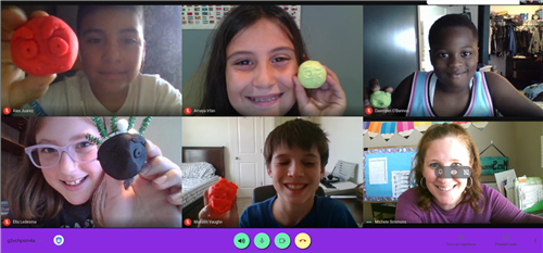 Grande Park 4th Graders with Playdough emojis
