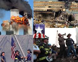 Images from September 11, twin towers burning, Pentagon on fire, firemen with flag, firemen working