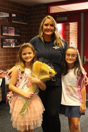 Mrs. Speidel with kids on the first day of school.