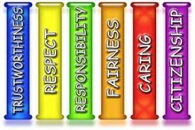 Character Counts Pillars - Trustworthiness, Respect, Responsibility, Fairness, Caring, Citizenship