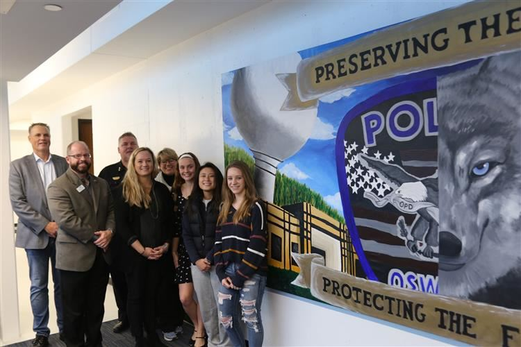 Oswego East High Students with Mural