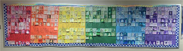 "Monochromatic self portraits of students showing their ""true colors"" at The Wheatlands."